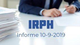 Informe de IRPH 10 de septiembre de 2019